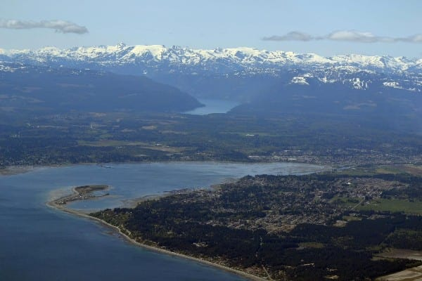 aerial photo of the Comox Valley